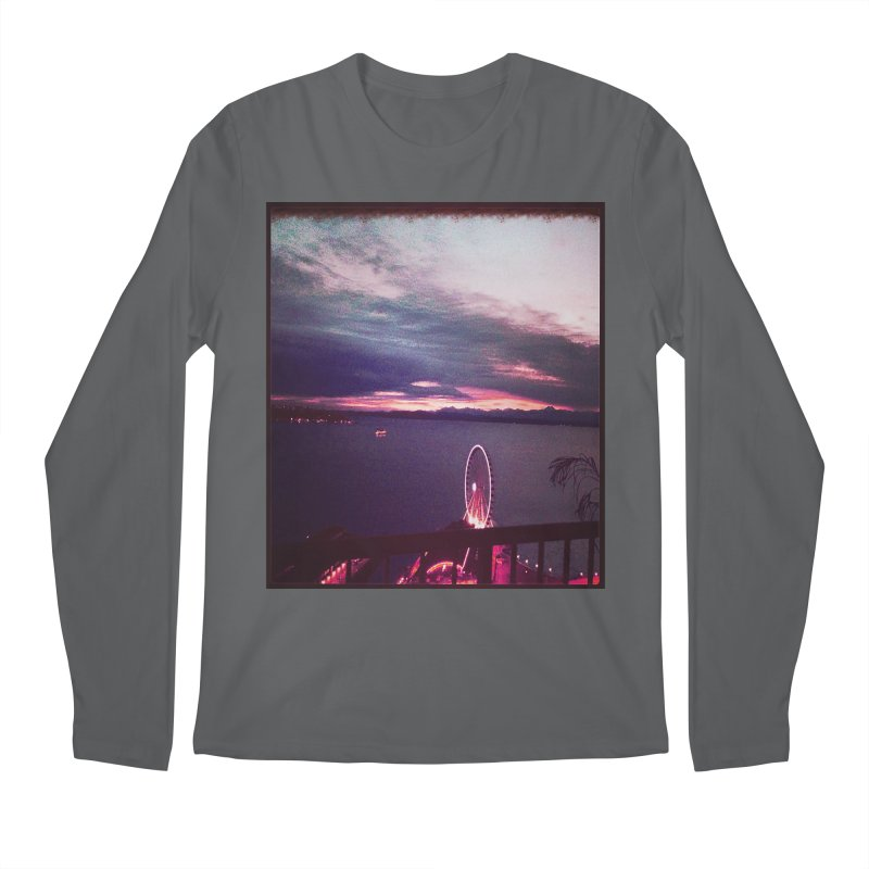 Seattle Sunset Wheel - Seattle Vibe Men's Longsleeve T-Shirt by terryann's Artist Shop