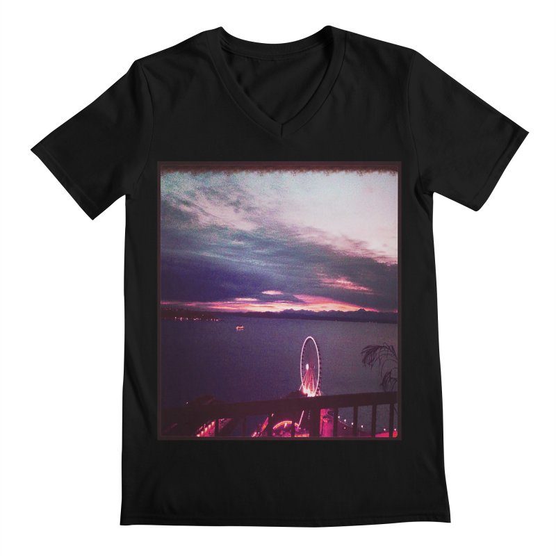 Seattle Sunset Wheel - Seattle Vibe Men's V-Neck by terryann's Artist Shop