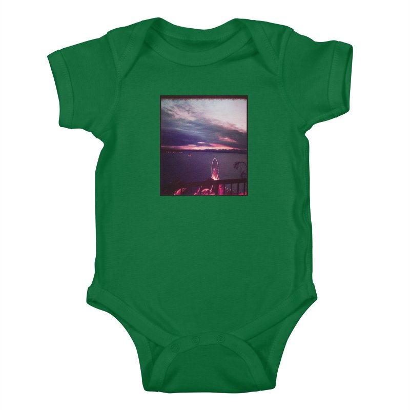 Seattle Sunset Wheel - Seattle Vibe Kids Baby Bodysuit by terryann's Artist Shop