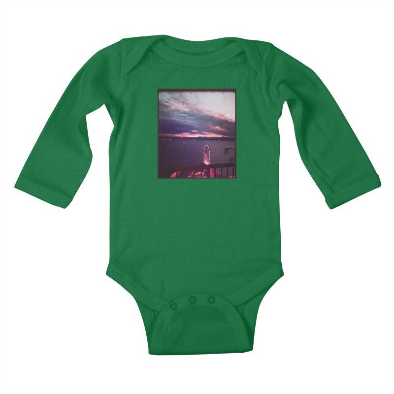 Seattle Sunset Wheel - Seattle Vibe Kids Baby Longsleeve Bodysuit by terryann's Artist Shop
