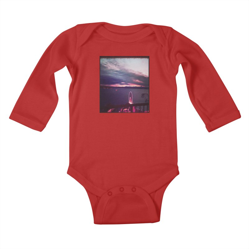 Seattle Sunset Wheel - Seattle Vibe Kids Baby Longsleeve Bodysuit by terryann's Artist Shop