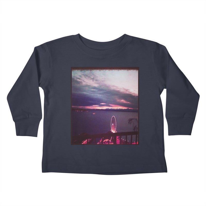 Seattle Sunset Wheel - Seattle Vibe Kids Toddler Longsleeve T-Shirt by terryann's Artist Shop