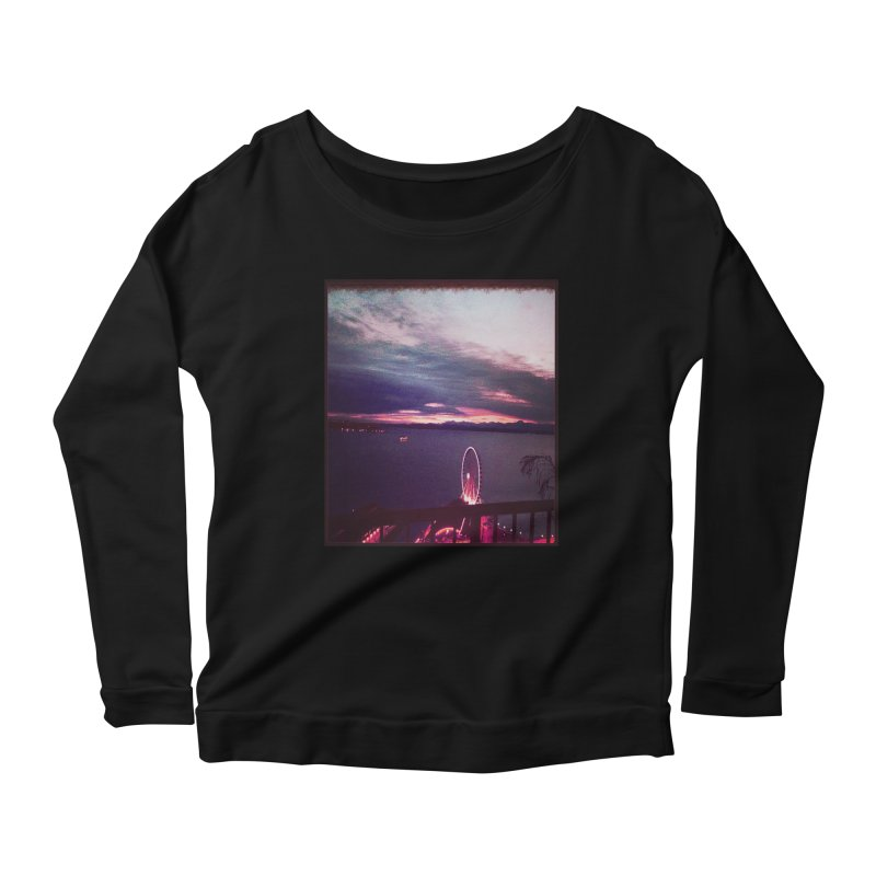Seattle Sunset Wheel - Seattle Vibe Women's Longsleeve Scoopneck  by terryann's Artist Shop