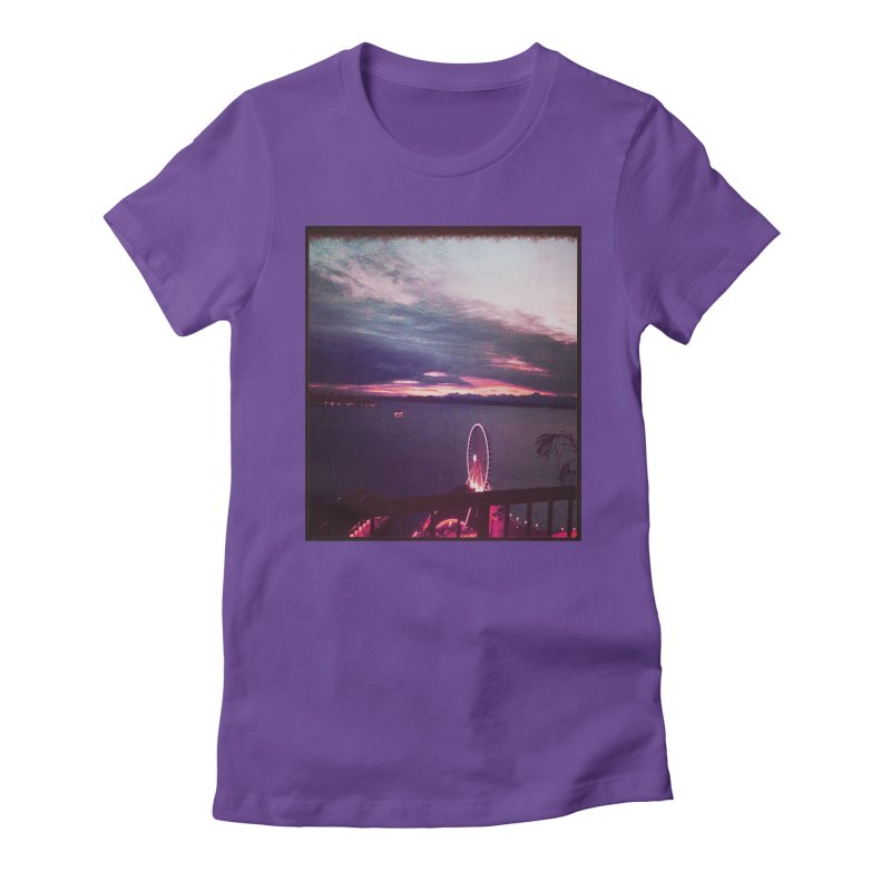 Seattle Sunset Wheel - Seattle Vibe Women's Fitted T-Shirt by terryann's Artist Shop