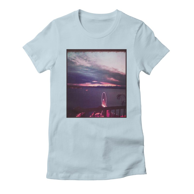 Seattle Sunset Wheel - Seattle Vibe Women's Fitted T-Shirt by terryann's Artist Shop