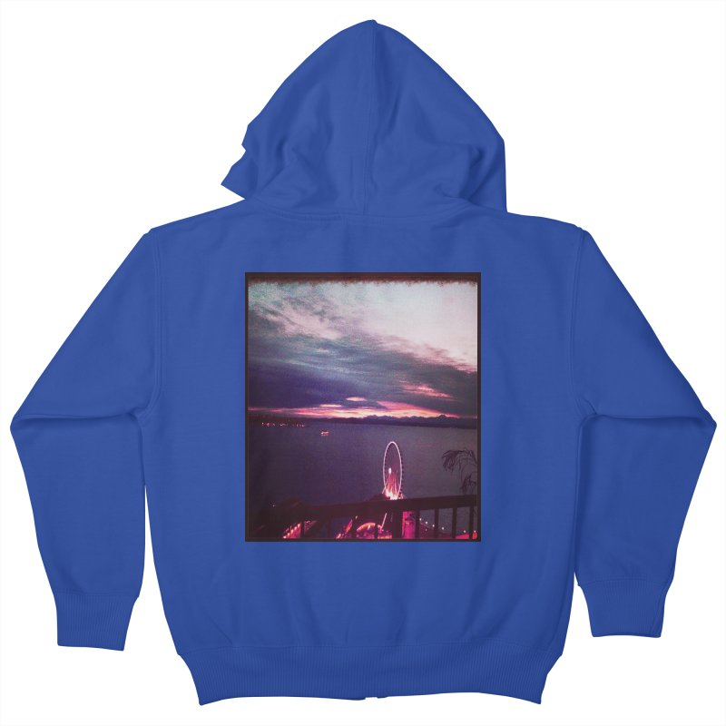 Seattle Sunset Wheel - Seattle Vibe Kids Zip-Up Hoody by terryann's Artist Shop