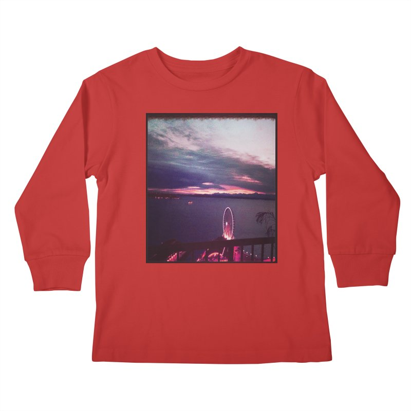 Seattle Sunset Wheel - Seattle Vibe Kids Longsleeve T-Shirt by terryann's Artist Shop