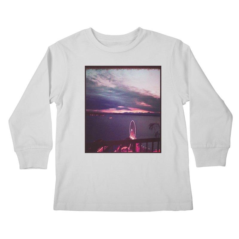 Seattle Sunset Wheel - Seattle Vibe Kids Longsleeve T-Shirt by terryann's Artist Shop
