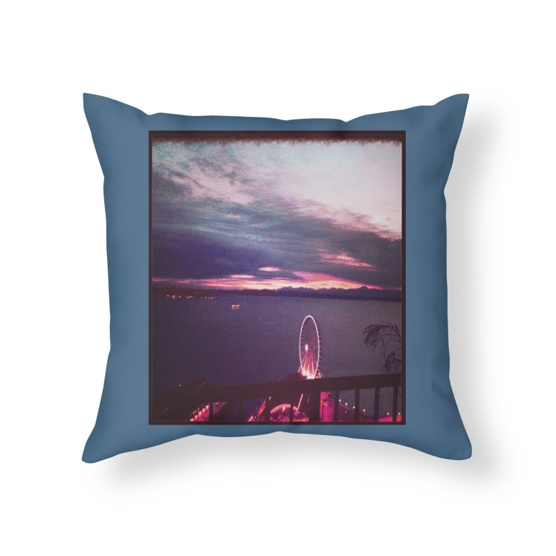 Seattle Sunset Wheel - Seattle Vibe Home Throw Pillow by terryann's Artist Shop