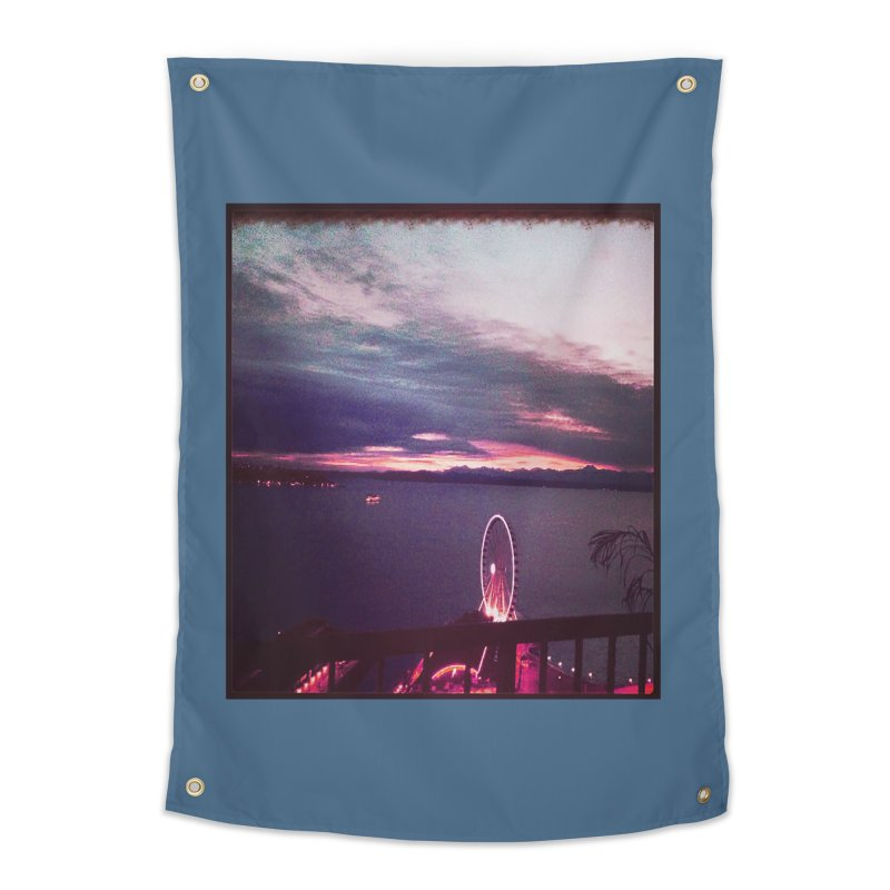 Seattle Sunset Wheel - Seattle Vibe Home Tapestry by terryann's Artist Shop