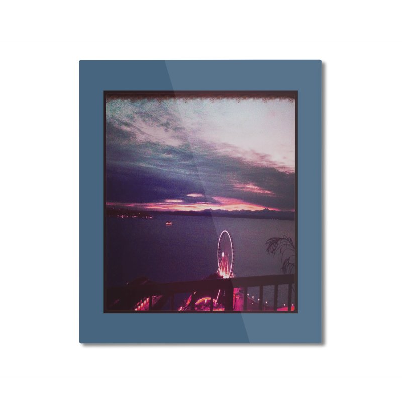 Seattle Sunset Wheel - Seattle Vibe Home Mounted Aluminum Print by terryann's Artist Shop