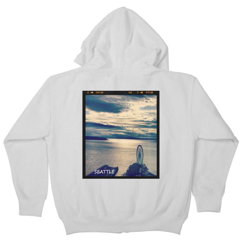 Blue Seattle - you have been there. Kids Zip-Up Hoody by terryann's Artist Shop