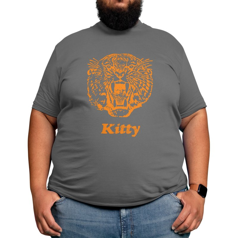 Orange Tiger Kitty Cat Text and Picture Men's T-Shirt by Terry Bain's Place