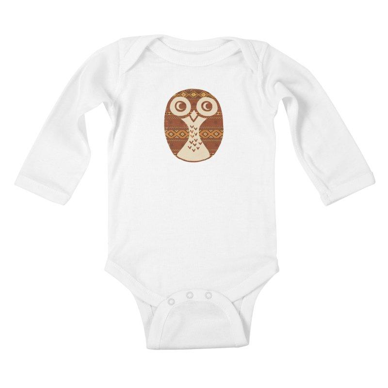 Navajo Owl Kids Baby Longsleeve Bodysuit by terryfan