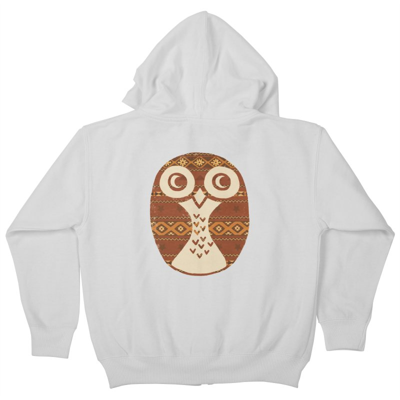 Navajo Owl Kids Zip-Up Hoody by terryfan