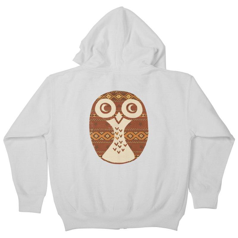 Navajo Owl Kids Zip-Up Hoody by terryfan