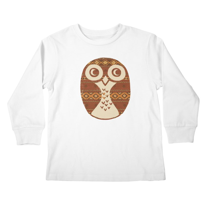 Navajo Owl Kids Longsleeve T-Shirt by terryfan