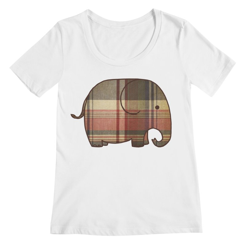 Plaid Elephant Women's Scoopneck by terryfan