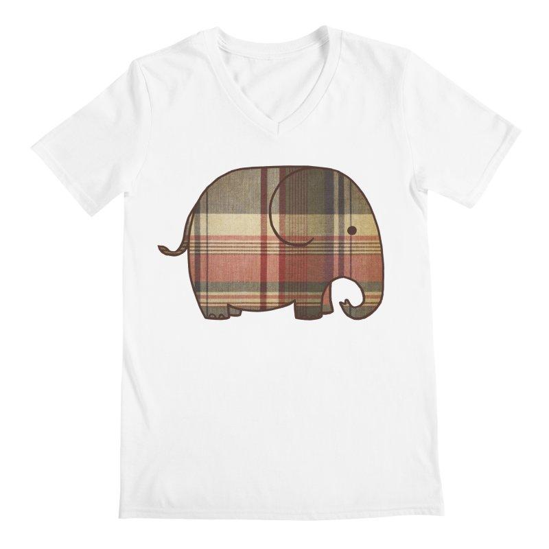 Plaid Elephant Men's V-Neck by terryfan