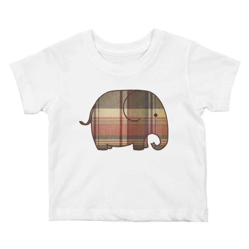 Plaid Elephant Kids Baby T-Shirt by terryfan