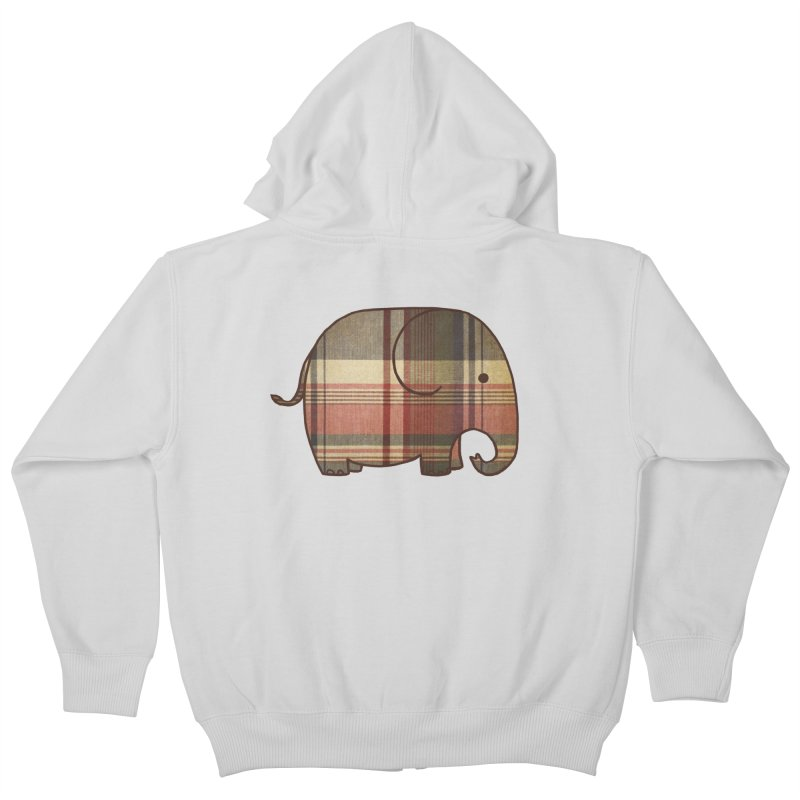 Plaid Elephant Kids Zip-Up Hoody by terryfan