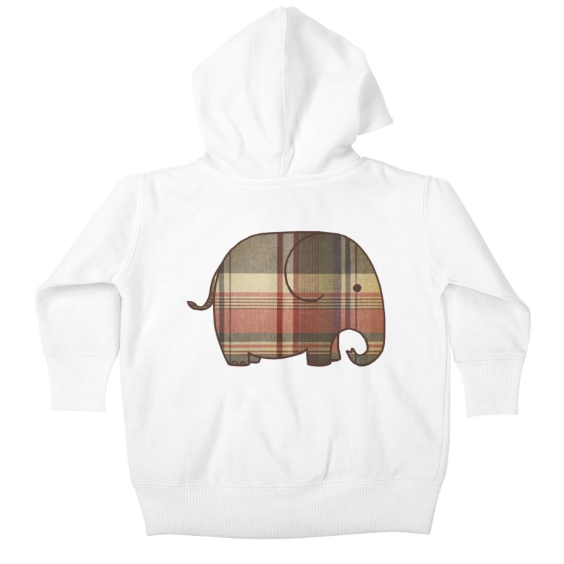 Plaid Elephant Kids Baby Zip-Up Hoody by terryfan