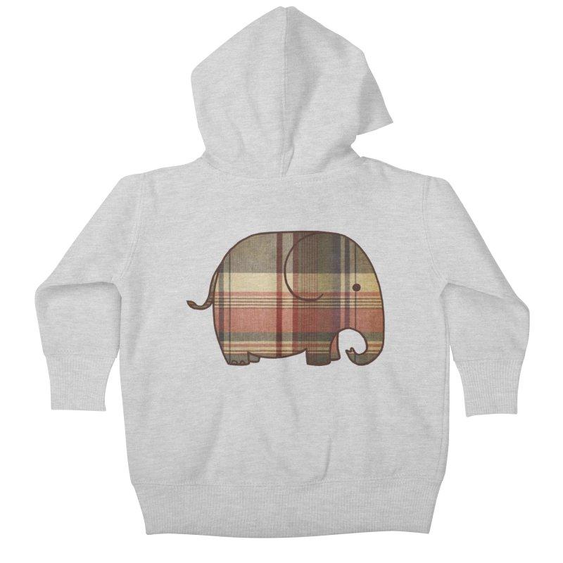Plaid Elephant Kids Baby Zip-Up Hoody by terryfan