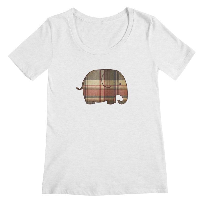 Plaid Elephant Women's Scoopneck by terryfan
