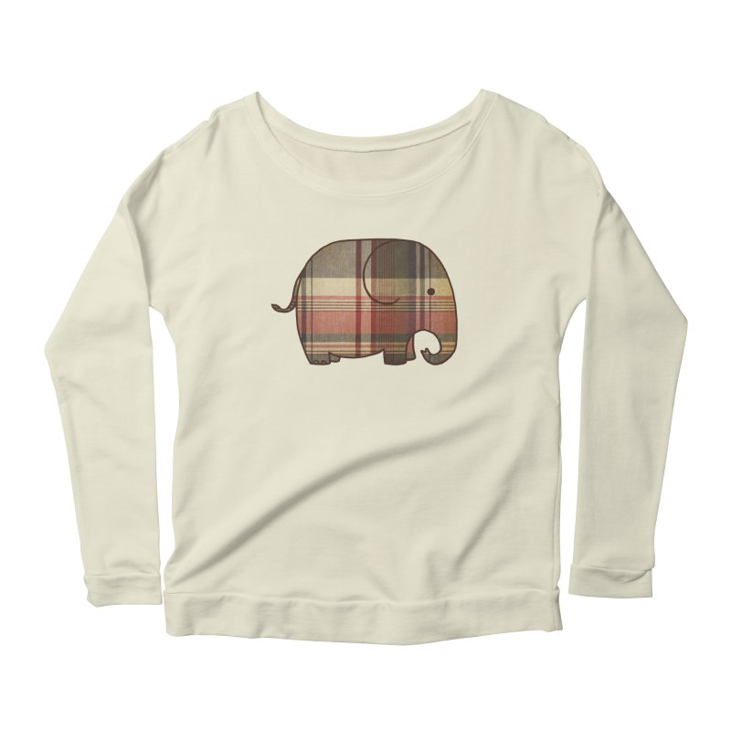 Plaid Elephant Women's Longsleeve Scoopneck  by terryfan