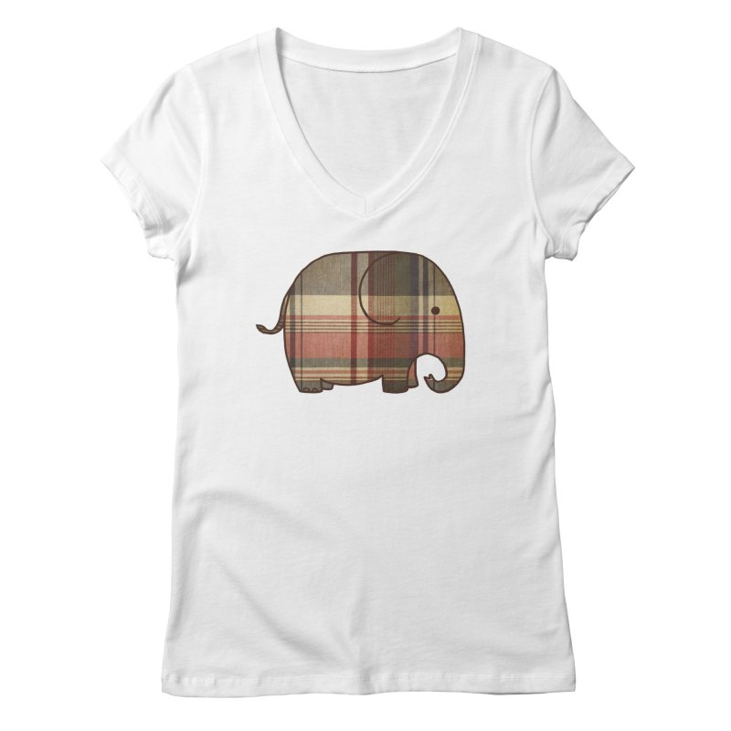 Plaid Elephant Women's V-Neck by terryfan