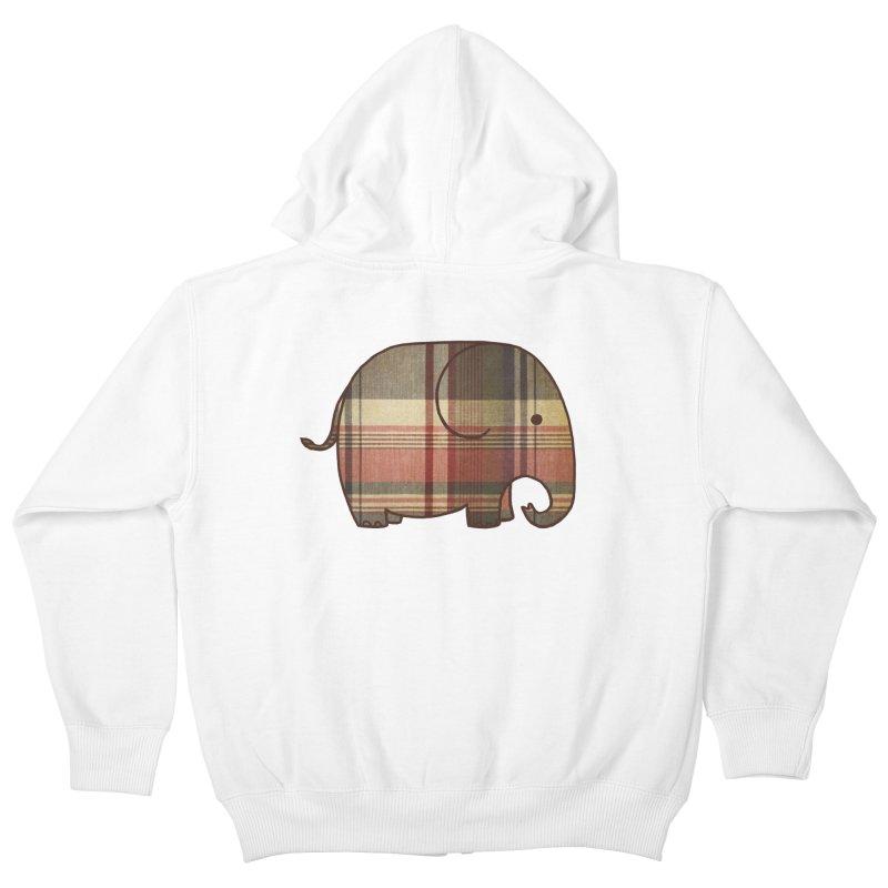 Plaid Elephant Kids Zip-Up Hoody by terryfan