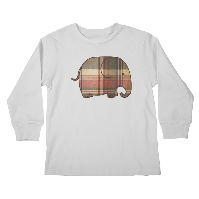 Plaid Elephant Kids Longsleeve T-Shirt by terryfan