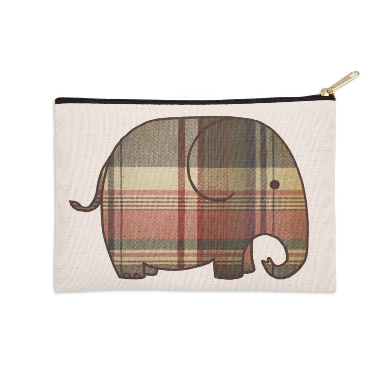 Plaid Elephant Accessories Zip Pouch by terryfan