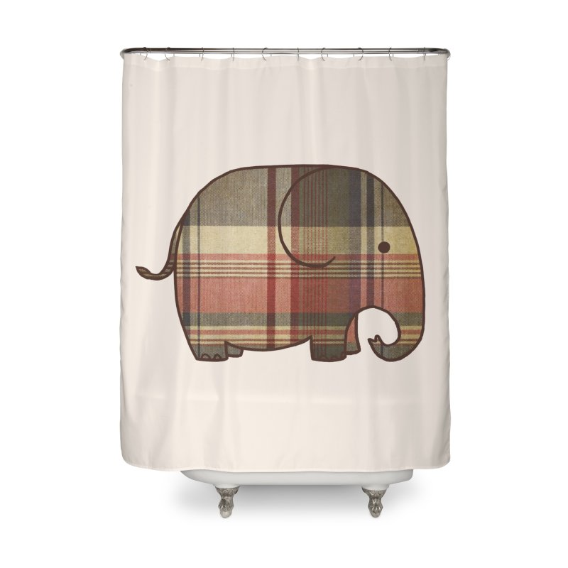 Plaid Elephant Home Shower Curtain by terryfan