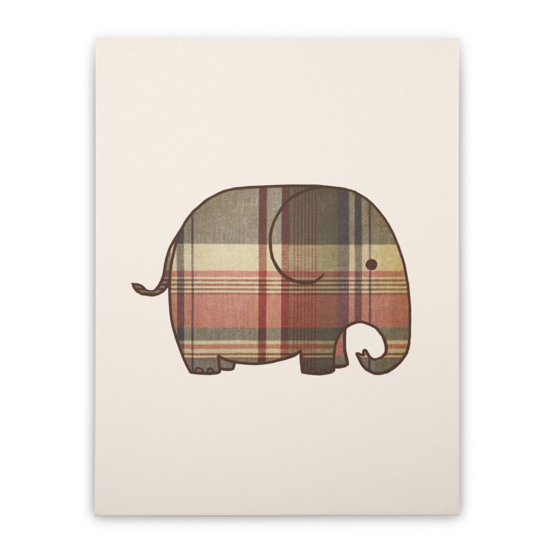 Plaid Elephant Home Stretched Canvas by terryfan