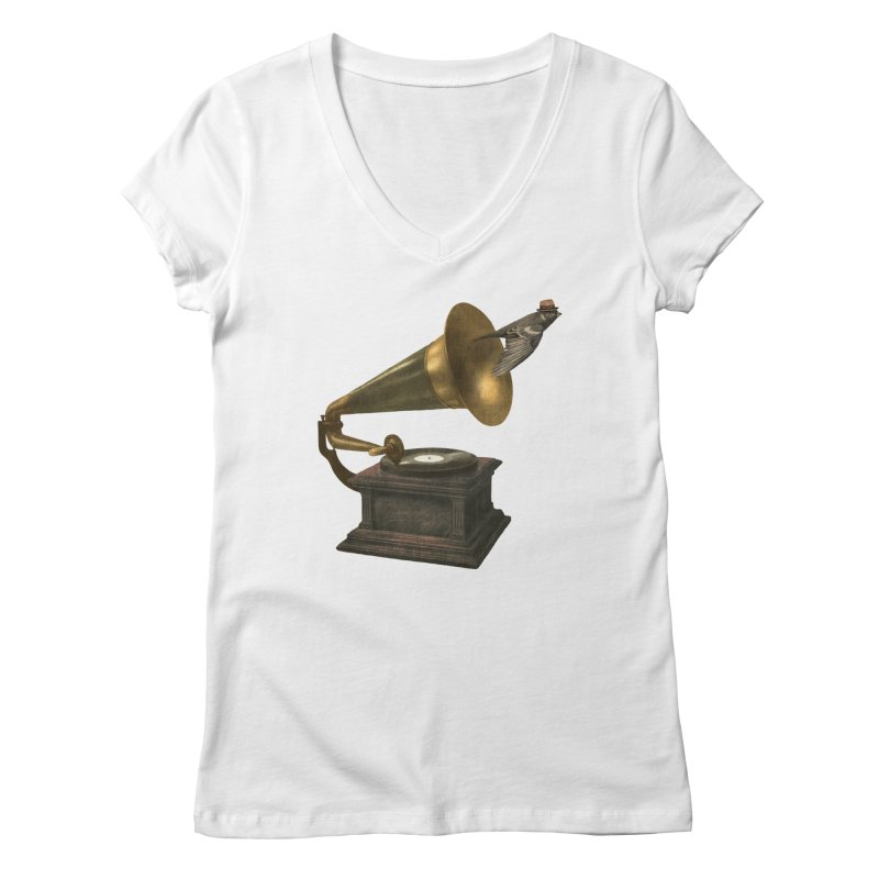 Vintage Songbird Women's V-Neck by terryfan