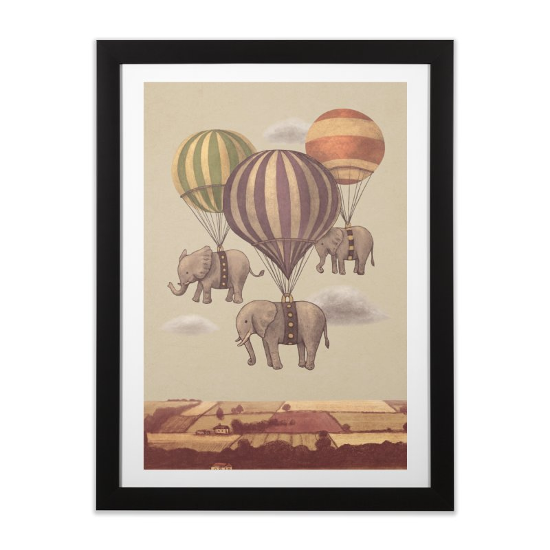 Flight of the Elephant in Framed Fine Art Print Black by terryfan