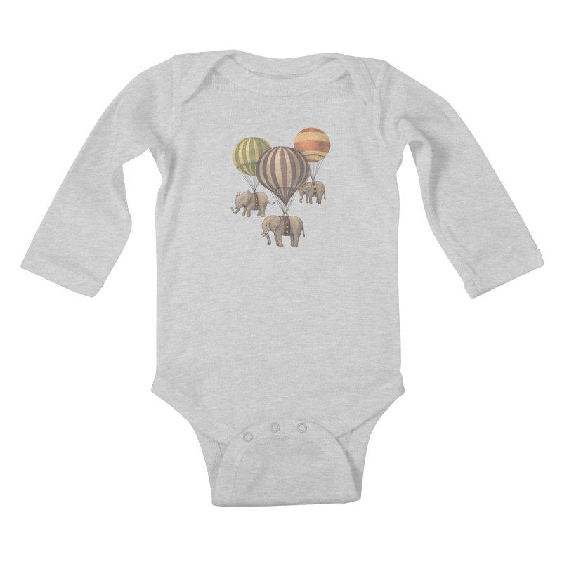 Flight of the Elephant Kids Baby Longsleeve Bodysuit by terryfan