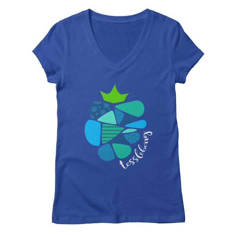 hi i'm a tessleberry tshirt with white letters Women's V-Neck by tessleberry's Artist Shop