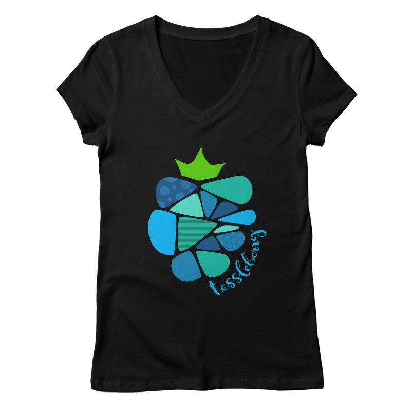 hi i'm a tessleberry tshirt with blue letters Women's V-Neck by tessleberry's Artist Shop