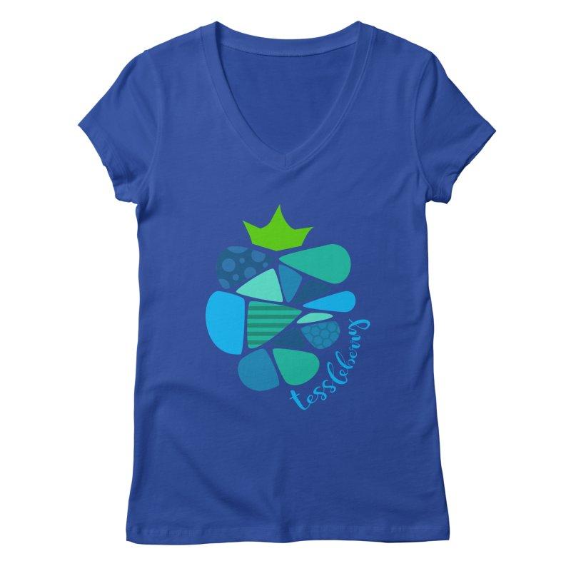 hi i'm a tessleberry tshirt with blue letters Women's V-Neck by tessleberry's Artist Shop