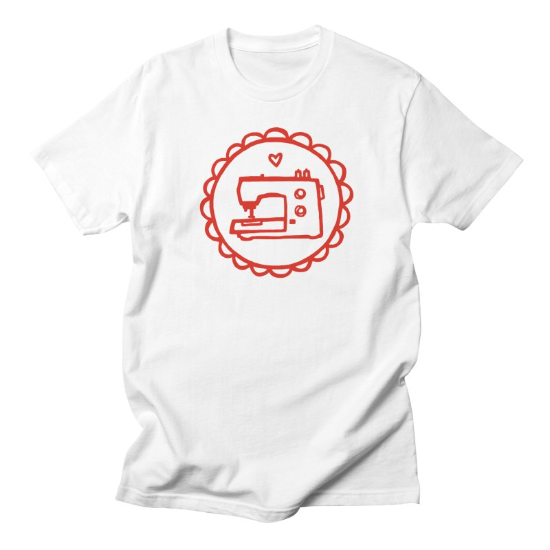 Red Textillia Logo in Women's Regular Unisex T-Shirt White by Textillia Shirt Shop