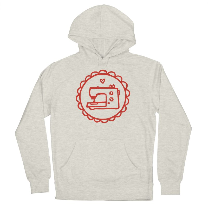 Red Textillia Logo in Women's French Terry Pullover Hoody Heather Oatmeal by Textillia Shirt Shop