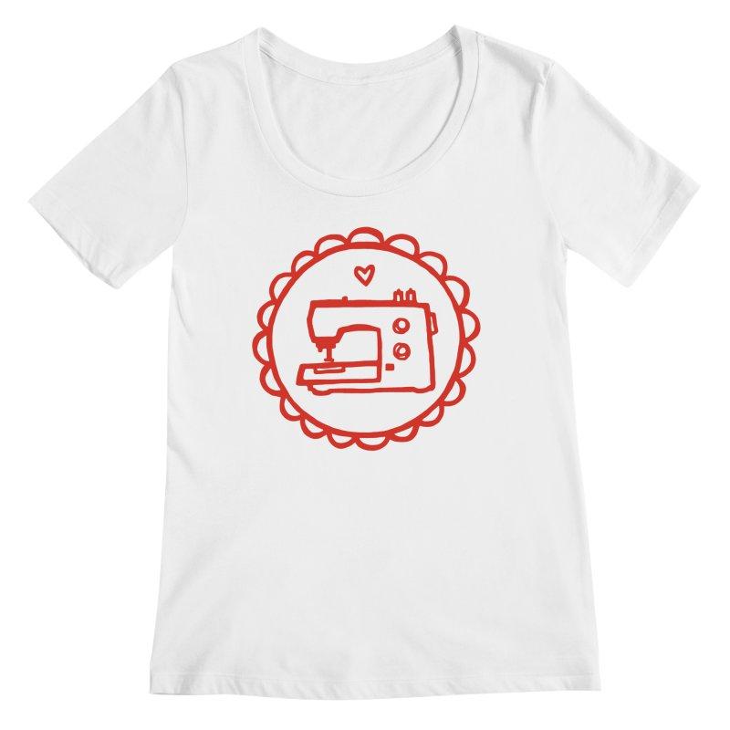 Red Textillia Logo Women's Regular Scoop Neck by Textillia Shirt Shop