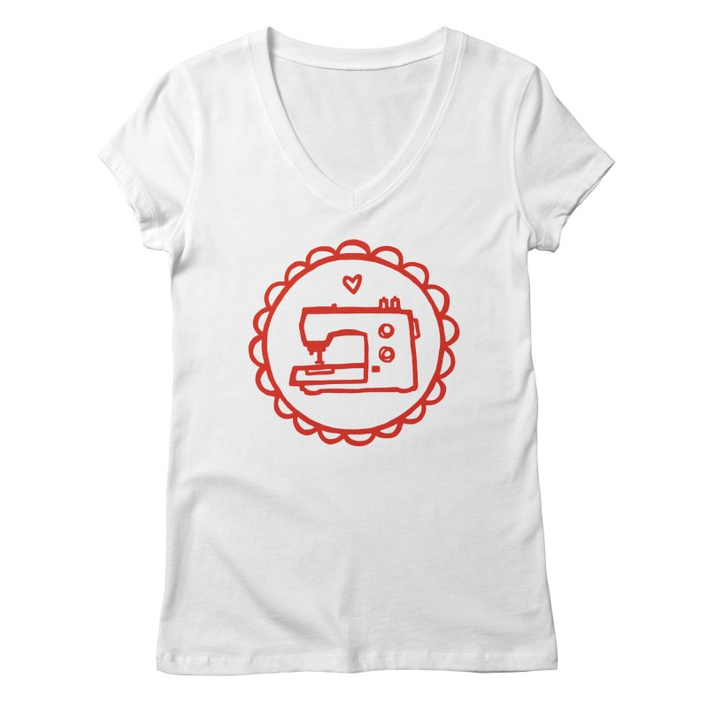 Red Textillia Logo Women's V-Neck by Textillia Shirt Shop
