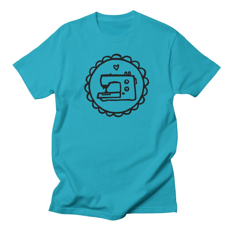 Black Textillia Logo in Women's Regular Unisex T-Shirt Cyan by Textillia Shirt Shop
