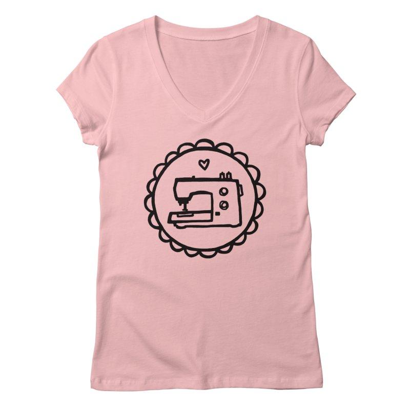 Black Textillia Logo Women's V-Neck by Textillia Shirt Shop