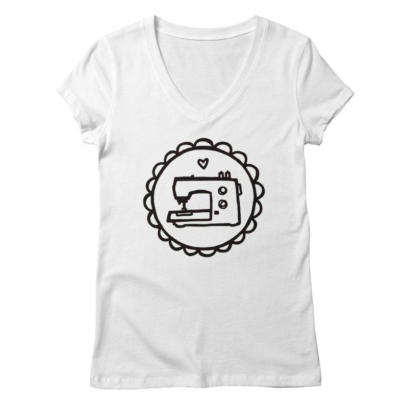 Black Textillia Logo Women's Regular V-Neck by Textillia Shirt Shop