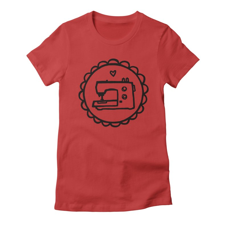 Black Textillia Logo Women's Fitted T-Shirt by Textillia Shirt Shop