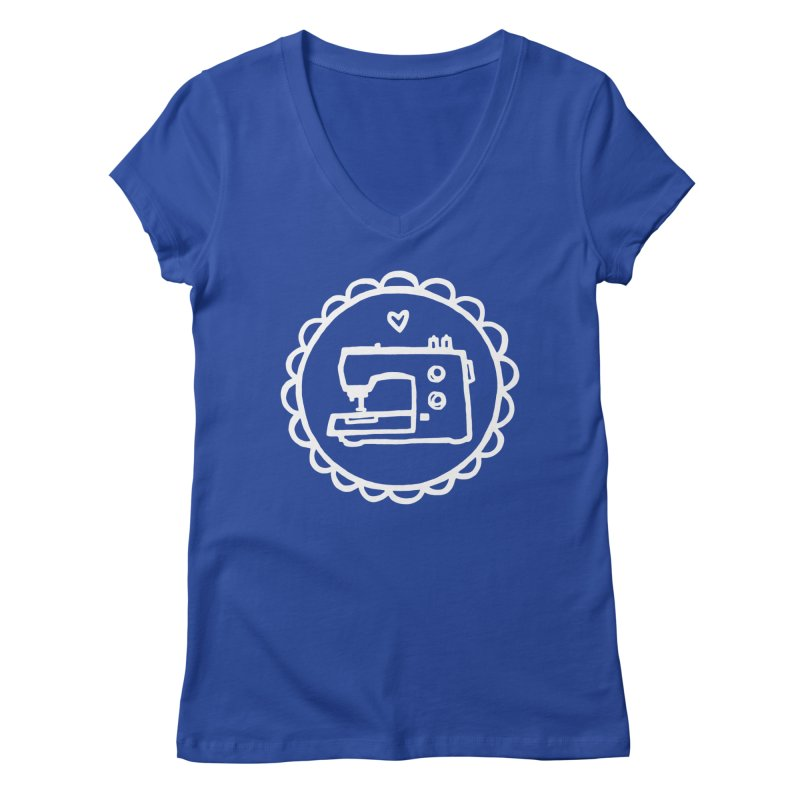White Textillia Logo in Women's Regular V-Neck Royal Blue by Textillia Shirt Shop